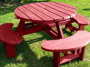 Red Recycled Plastic Composite Picnic Tables